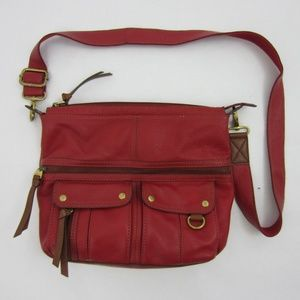 Fossil Large Red Leather Handbag Purse Crossbody